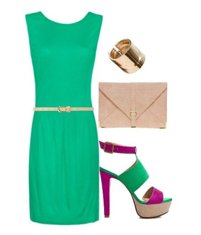 Vestido verde menta con morado